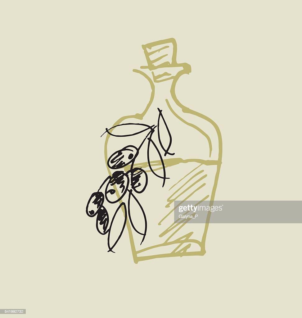olive oil simple icon. food hand drawn sketch vector illustrati