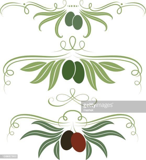 olive ornament - olive tree stock illustrations, clip art, cartoons, & icons