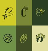 Olive tree branch. Set of labels