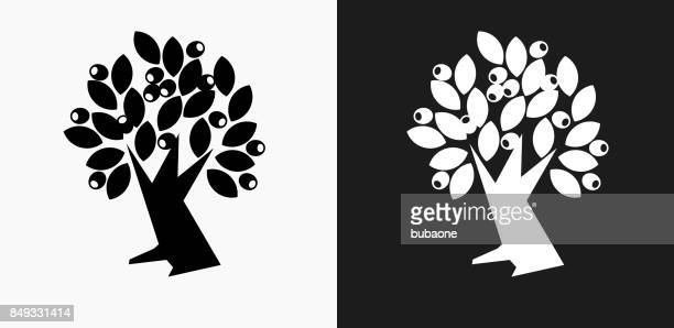 Olivo icono en blanco y negro Vector fondos