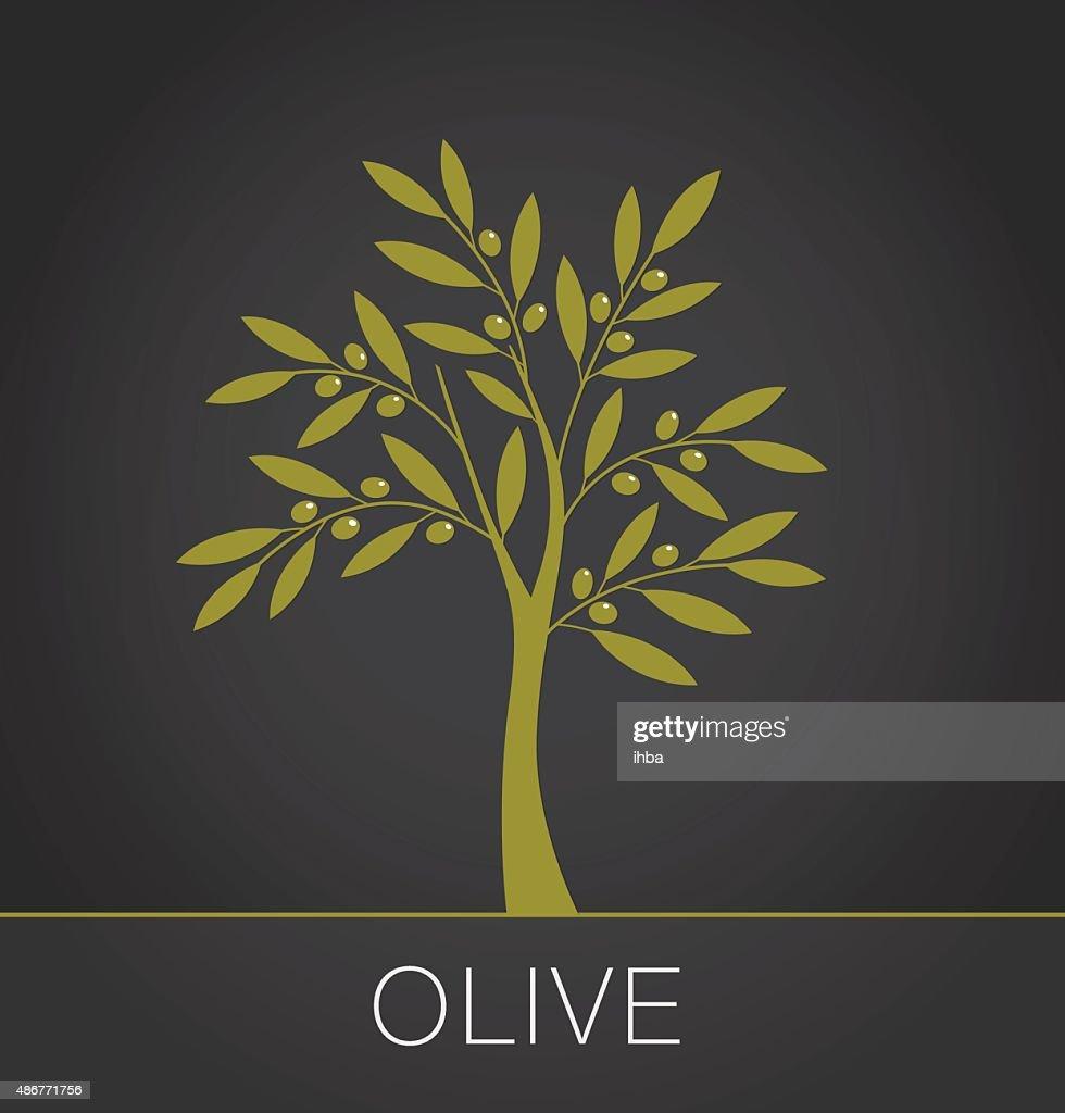 Olive tree label on dark background. Vector illustration