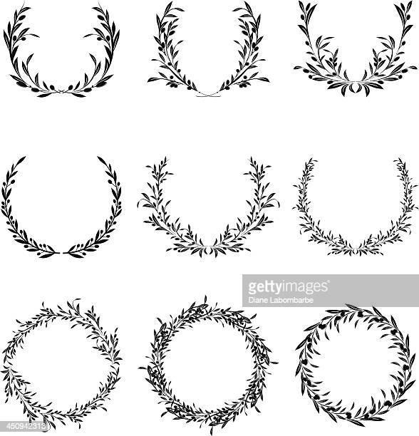 olive wreath set - laurel wreath stock illustrations
