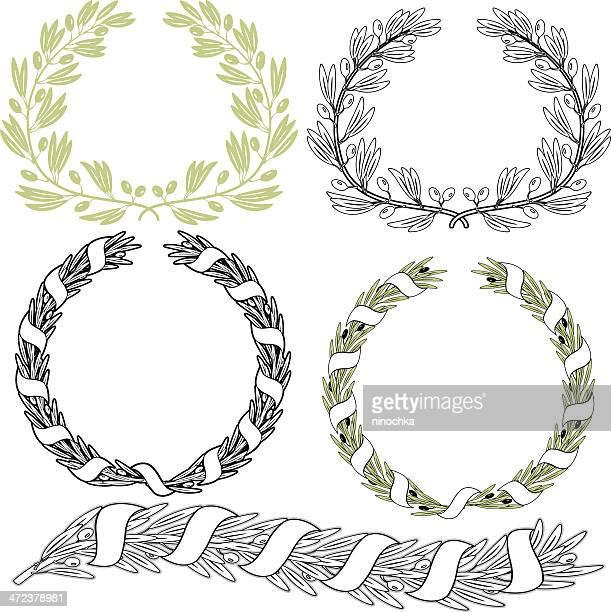 illustrations, cliparts, dessins animés et icônes de olive couronnes - olivier