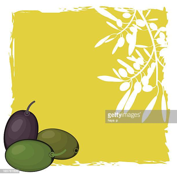 Olives And Olive Branch White Silhouette On green Background