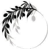 Olives Branch Swirl Design Element