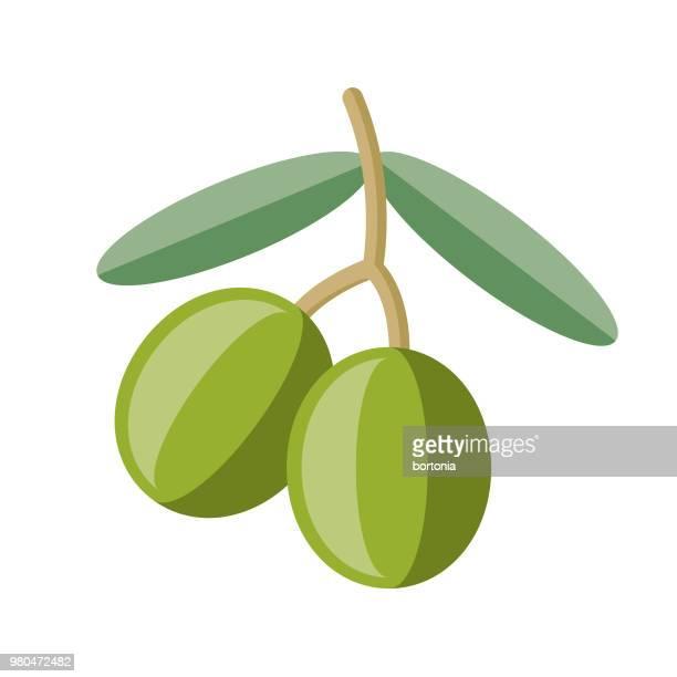 ilustraciones, imágenes clip art, dibujos animados e iconos de stock de icono de frutas aceitunas diseño plano - diseño plano