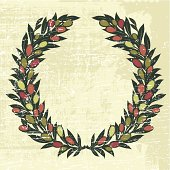 Olives Laurel Wreath With grunge Texture Illustration