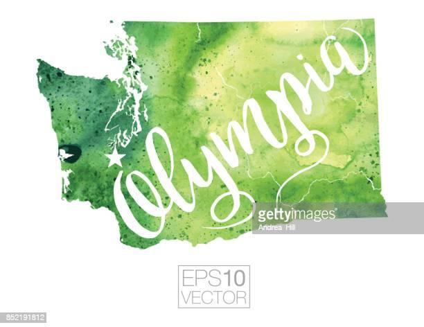 Olympia, Washington State, USA Vector Watercolor Map