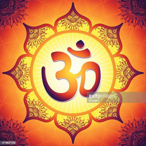 om in the middle of a lotus flower mandala - om symbol stock illustrations
