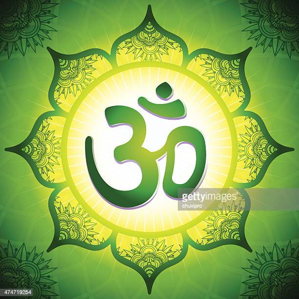 om in der mitte ein lotus flower mandala - nepal stock-grafiken, -clipart, -cartoons und -symbole
