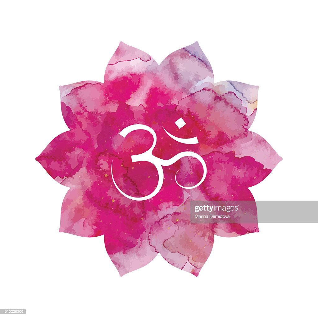 Om sign in lotus flower
