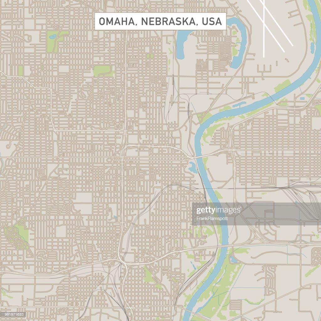 Omaha Nebraska USA Stadtstraße Karte : Vektorgrafik