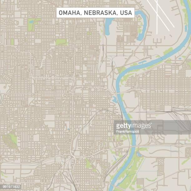 omaha nebraska us city street map - nebraska stock illustrations