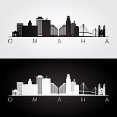 Omaha usa skyline and landmarks silhouette, black and white design, vector illustration.