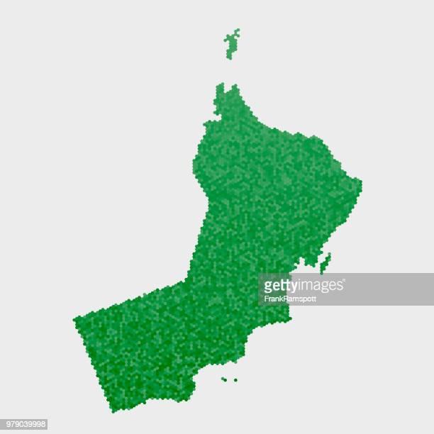 Oman-Land-Map-grünen Sechseck-Muster