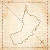 Oman map in retro vintage style - old textured paper