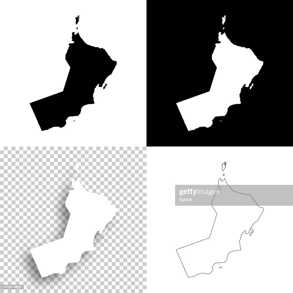 Oman Maps For Design Blank White And Black Backgrounds Stock