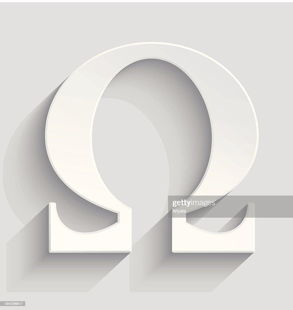 Omega white plastic  symbol
