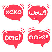 Omg, wow, xoxo, oops! Set of lettering and hand drawn speech bubbles. Flat vector illustrations on white background.