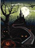 Ominous Halloween castle