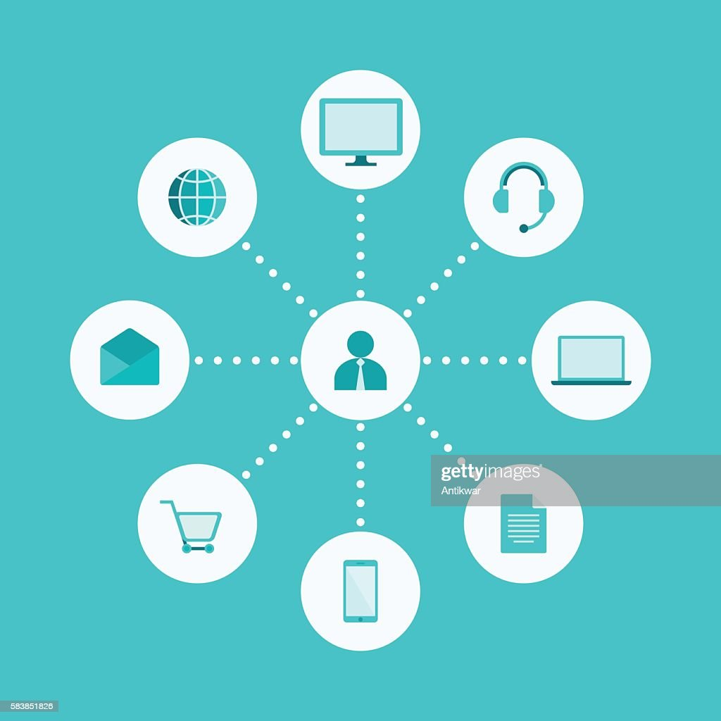 Omni, Multi Channel, E-Commerce, Digital Marketing Illustration