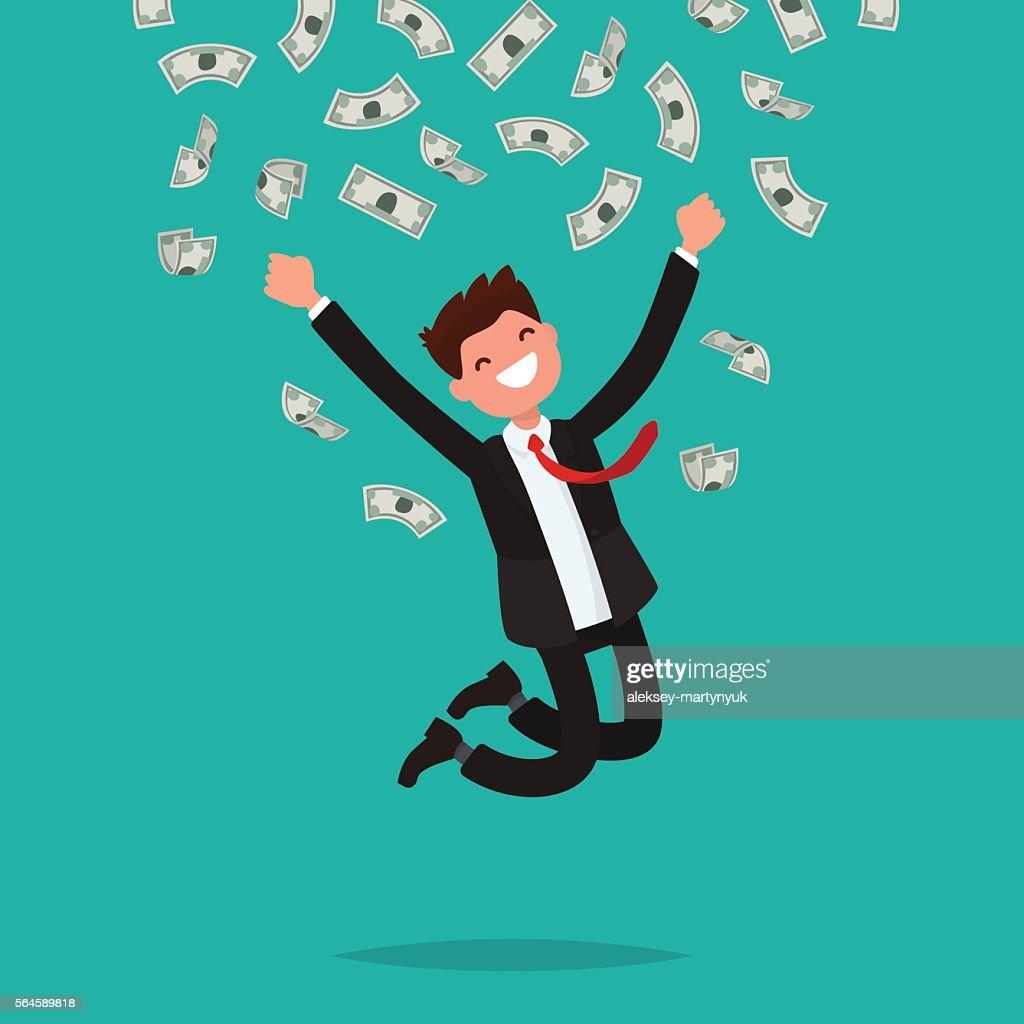 On a man are falling money bills. Joyful businesswoman jumping