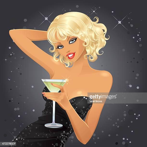 ilustraciones, imágenes clip art, dibujos animados e iconos de stock de en una fiesta - glamour