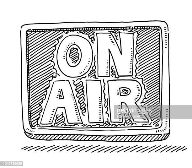 On Air Sendung Zeichen Zeichnung