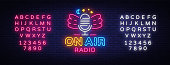 On Air Radio Neon Logo Vector. Radio neon sign, design template, modern trend design, night neon signboard, night bright advertising, light banner. Vector illustration. Editing text neon sign