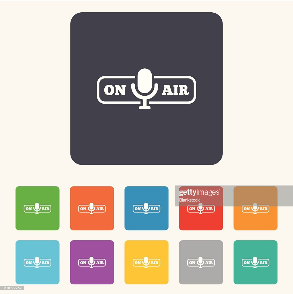 On Air Sign Icon Live Stream Symbol Vector Art Getty Images