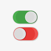 On and off button in flat style, on a white background