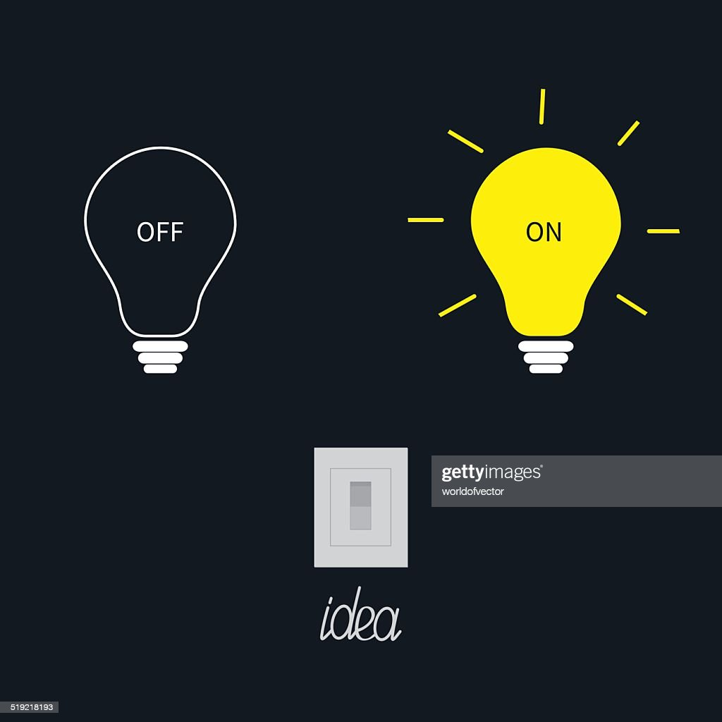 On and off light bulbs with tumbler switch. Idea concept.