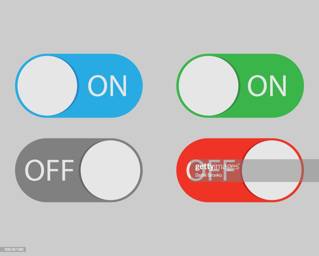 On and Off switch toggle isolated onbackground. Vector illustration.