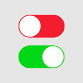 On and Off switch toggle. Simple flat icon design