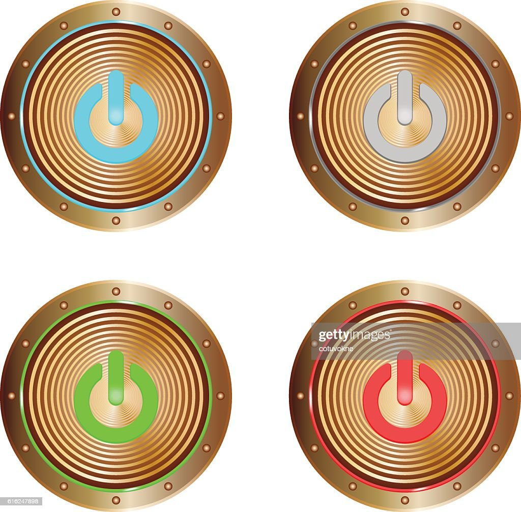 on buttons copper : Vector Art