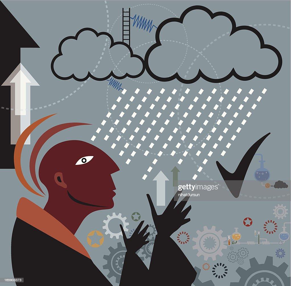 雲とミステティックに芸術的なイラスト ベクトルアート Getty Images