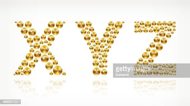 xyz on gold coin buttons - fiscal year stock illustrations