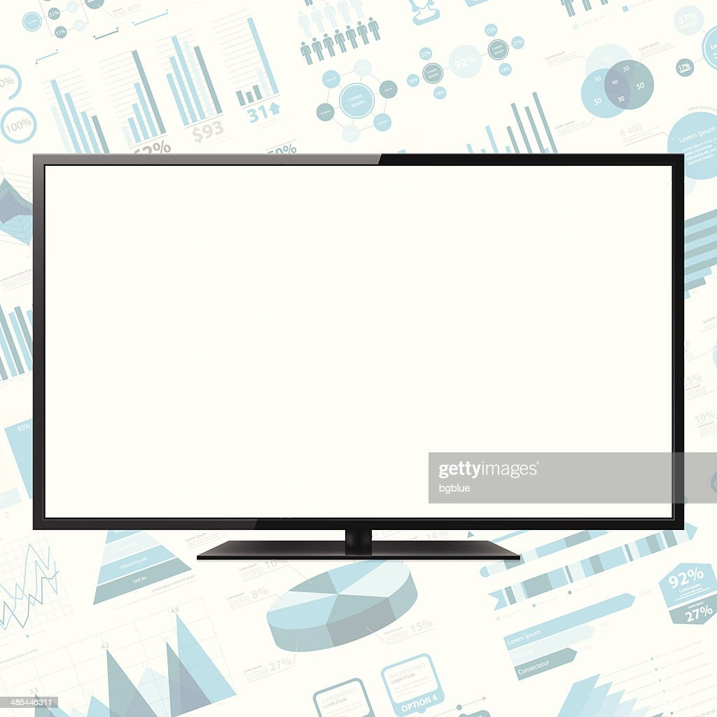 LCD TV on infographic Background