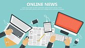 On line news concept. Information and newsletter flat banner. Business and market news. Flat vector illustration