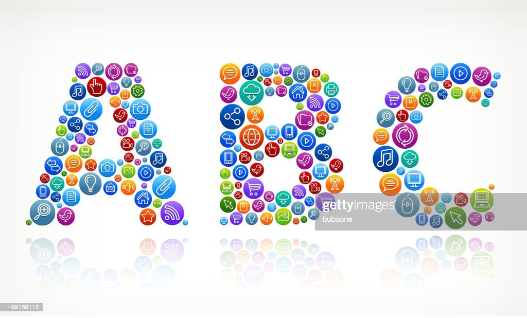 ABC on Social Networking & Internet Color Buttons