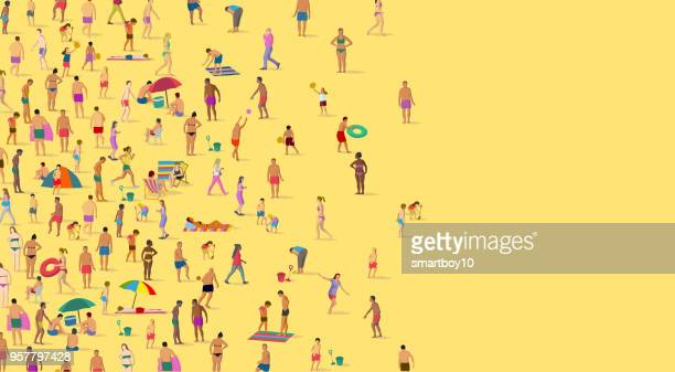 on the beach - beach holiday stock illustrations, clip art, cartoons, & icons
