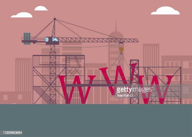 """stockillustraties, clipart, cartoons en iconen met op de bouwplaats, de """"www"""" in aanbouw. - toren bouwwerk"""