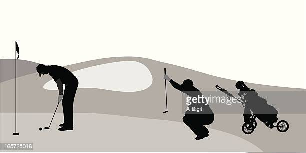 on the green vector silhouette - sand trap stock illustrations, clip art, cartoons, & icons