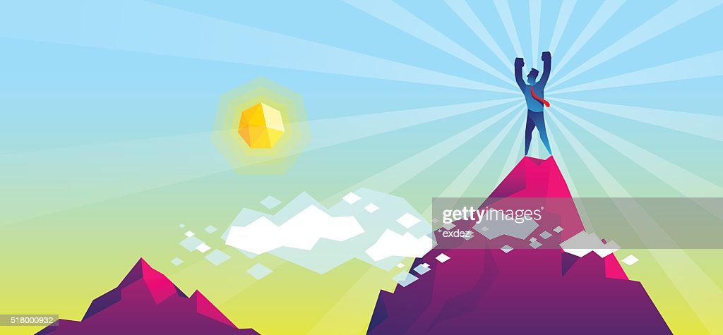 On the top of mountain : stock illustration
