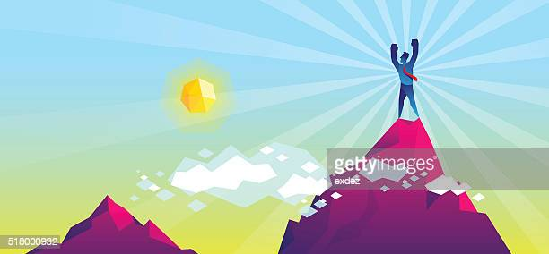 on the top of mountain - success stock illustrations, clip art, cartoons, & icons