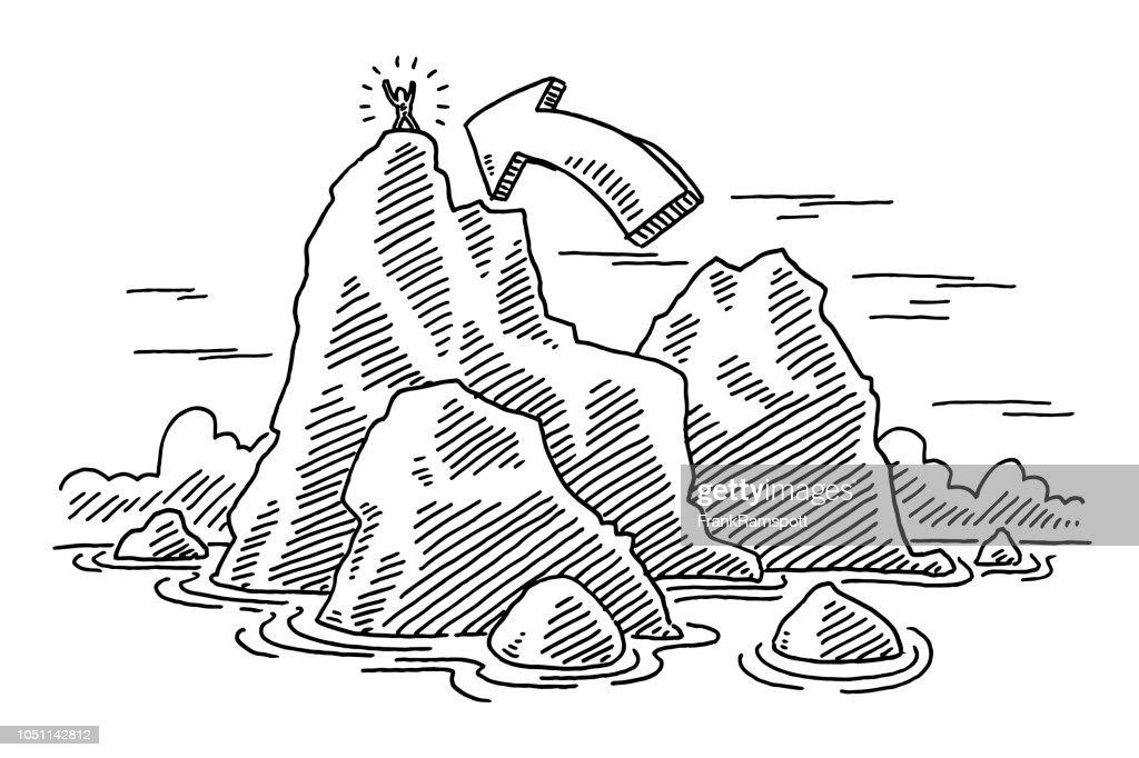 Oben auf der Felseninsel Erfolg Konzept Zeichnung : Vektorgrafik
