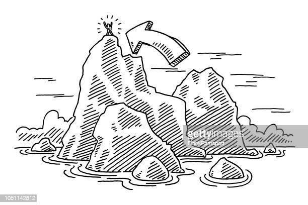 Oben auf der Felseninsel Erfolg Konzept Zeichnung