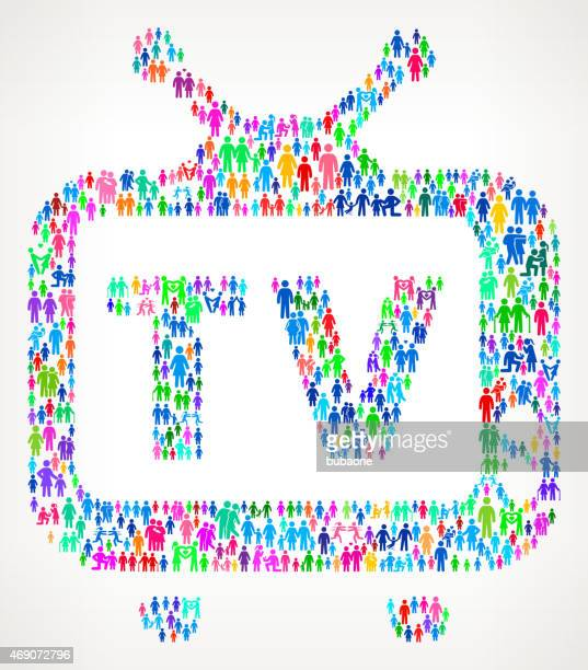 ilustraciones, imágenes clip art, dibujos animados e iconos de stock de televisión en familia patrón de vector de fondo - familia viendo tv