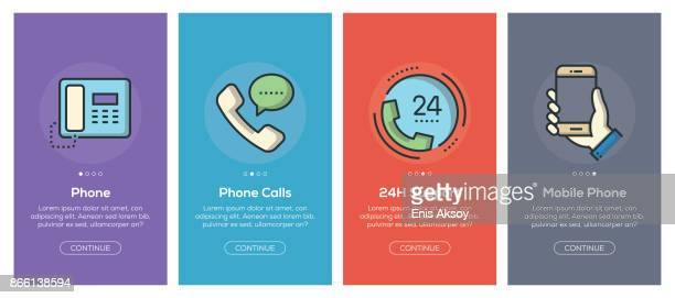 onboarding app screens and flat line communication web icons for mobile apps - video conference stock illustrations