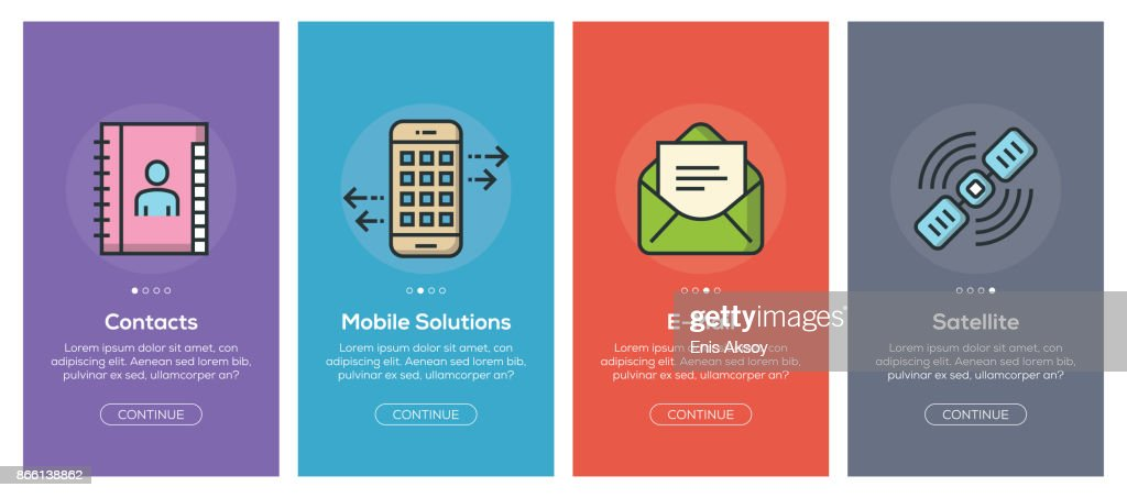 Onboarding app screens and flat line communication web icons for mobile apps